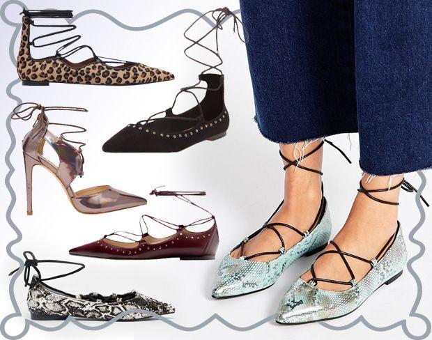 """Le """"lace-up shoes"""", le scarpe di tendenza con lacci e laccetti, sono davvero un must per l'A/I 2015. Ballerine e décolleté ti aspttano più trendy che mai nella gallery, per una nuova sessione di shopping!(cover by Antonella Acquafredda)"""