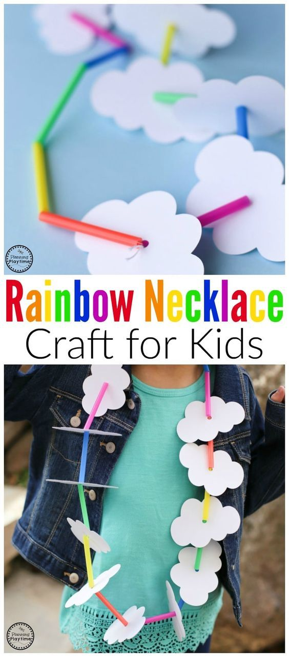 Adorable Spring Rainbow Necklace Craft for kids using drinking straws.