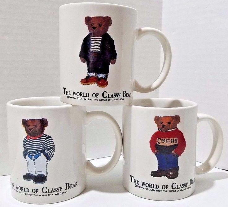 1997 Takara The World Of Classy Bear Coffee Tea Mug Set of 3 Lot of Mugs Polo #TakaraCoLTD #Takara