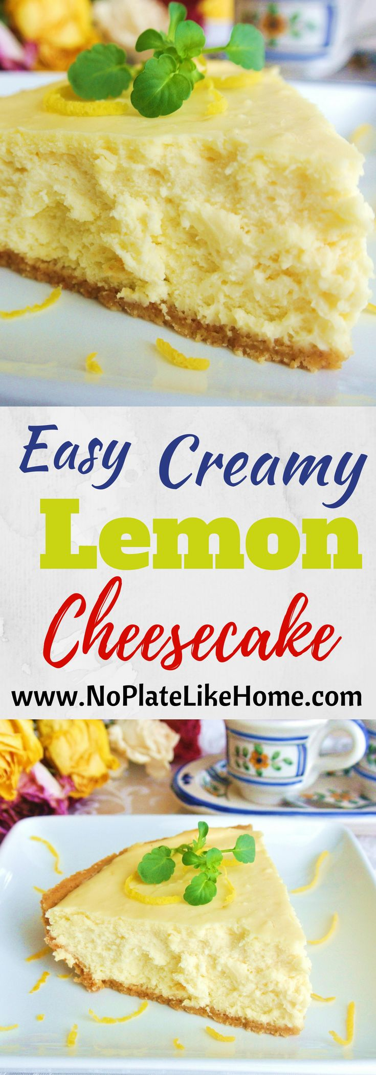 This easy creamy lemon cheesecake recipe is a bit tart and full of lemon flavor. It is made with only 6 ingredients- Kraft Philadelphia brand cream cheese, eggs, lemon, sugar, vanilla and graham cracker crust. It is a delicious dessert for any time of year and goes with nearly any cuisine!