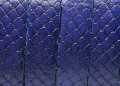 Cuir plat - 'Ecailles de Serpent' - Bleu/Violet - 10x1.8mm - Par 20cm - Cristaldesign  - 1