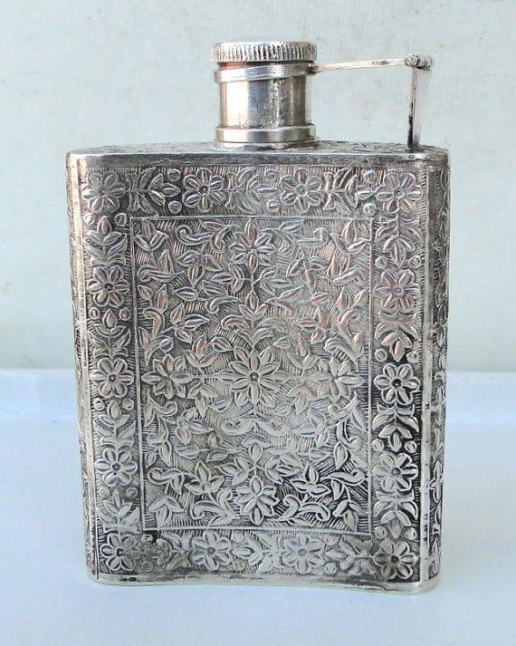 vintage antique Silver whisky Bottle pocket Flask wine rajasthan india