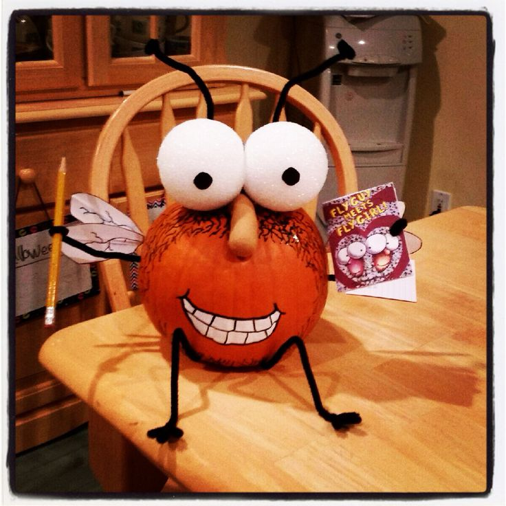 """Pumpkin Decorating Ideas And My Curated Pumpkin Roundup: Emma's Literary Pumpkin """"Fly Guy"""" 2014"""
