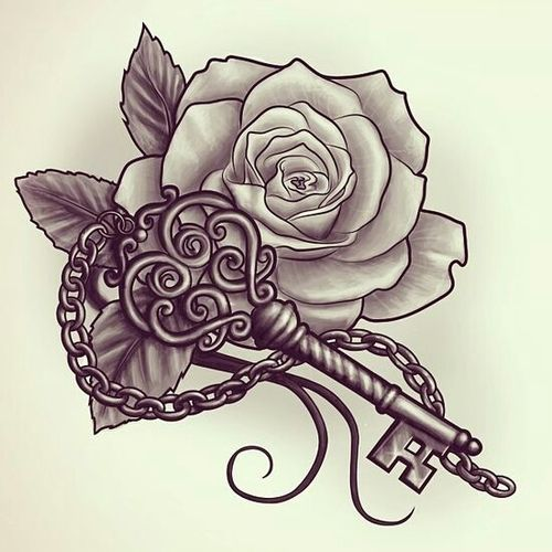 Rose & Key Tattoo Sketch. I like this tattoo idea for a memorial to Zacky. One of the last things he said to me was I will always hold the key to his heart:) Also the rose for his birth flower.Perfect