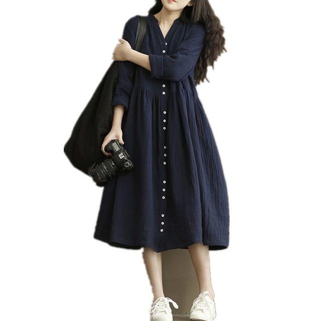 New arrival 2017 autumn dress long sleeve cotton linen loose elegant women dress plus size spring soft comfortable dress