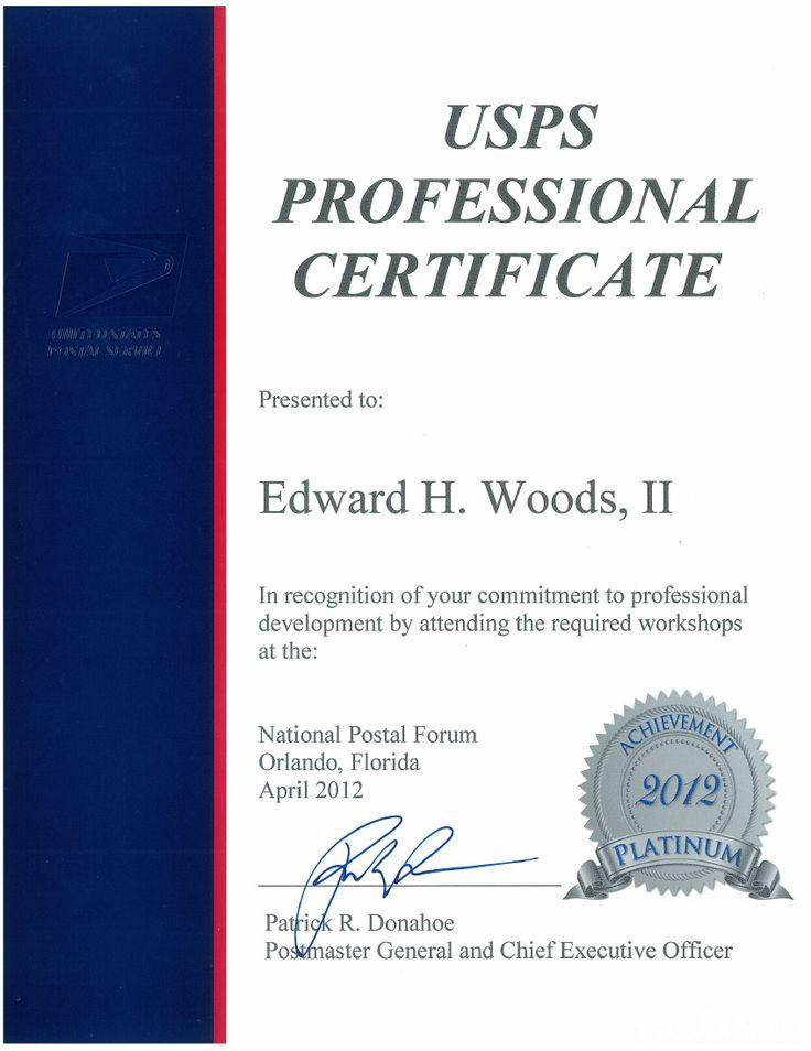 Eddie Woods Receives Prestigious USPS Professional Certificate