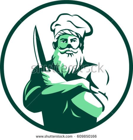 Illustration of a chef cook with beard wearing chef's hat arms crossed holding knife facing front set inside circle on isolated background done in retro style.   #chef #retro #illustration
