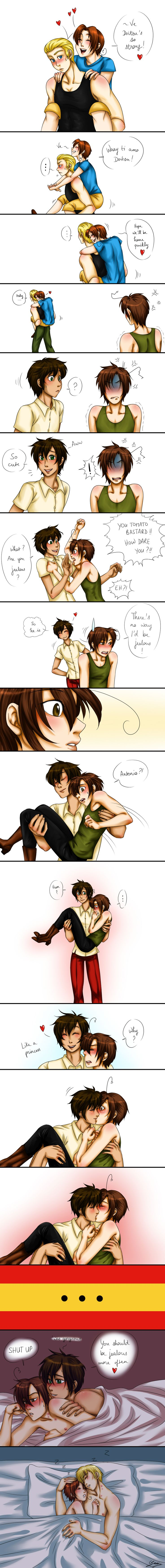 APH - Jealous by x-Lilou-chan-x<--- Lovi's cute jealousy~ Featuring Feliciano and Ludwig~ (GerIta)