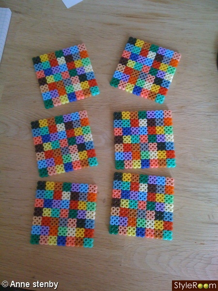 hama/perler beads - coasters - back with oilcloth