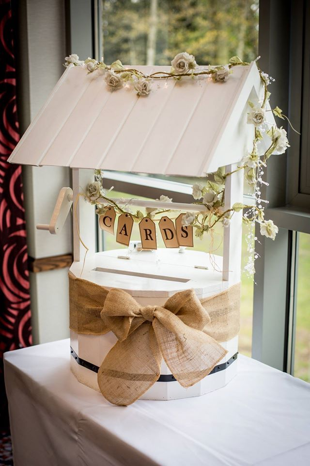 Make It Special Events Lovely hand crafted wooden wishing well, locks with combination lock is available to hire from http://www.makeitspecialevents.co.uk/
