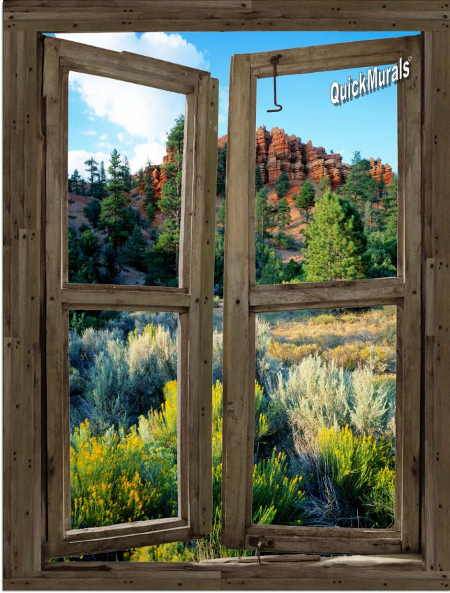 Desert cabin window peel stick 1 piece canvas wall for Desert wall mural