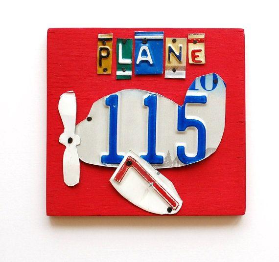 Plane Ooak License Plate Art Custom Home Decor Boys