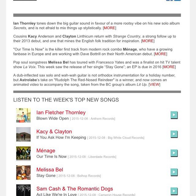 Newcanadianmusic.ca Newsletter