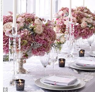 Blush + Ebony + Pewter  Add a big dose of color with your flowers. Vintage silver compotes and bouquet filled with Sweet Akito roses, Mimi Eden spray roses, fedora roses, vendela roses, Sahara roses, Marianne white anemones, Little Suzy mini calla lilies,...