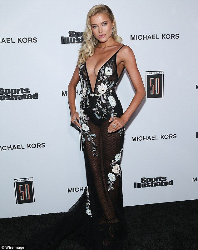 Took the plunge: Tanya Mityushina took the plunge in a black floral print dress