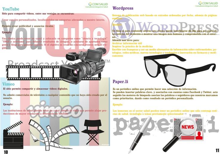 Características de Youtube, Vimeo, Wordpress y Paper.li