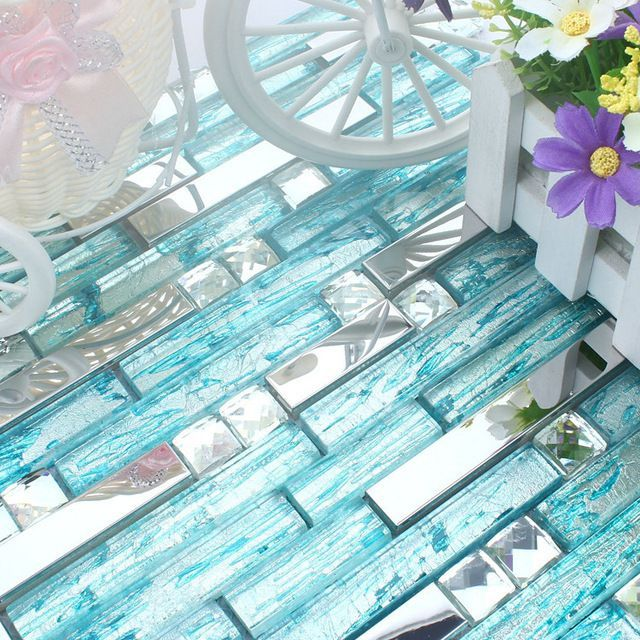 long and short blue glass mixed stainless steel metal mosaic tile kitchen backsplash tile bathroom shower tile hallway border