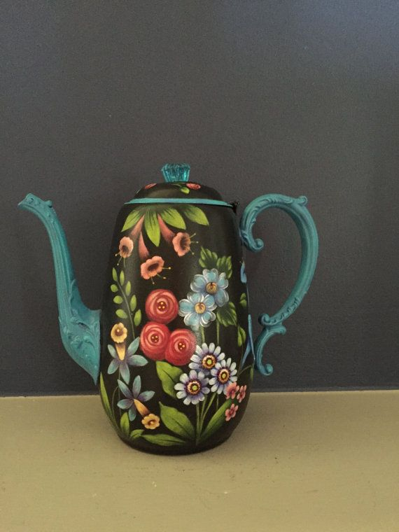 Silver Teapot with Flowers by Georgannself on Etsy