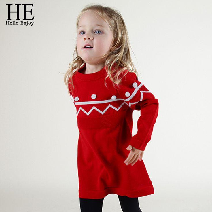 ОН Привет Наслаждаться девушки одеваются 2016 Осень Зима девушки одежды детей платья для девочек красные Свитера платье девушка вечернее платье для детей