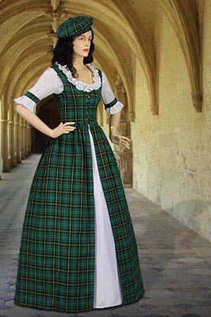 Scottish Tartan Dress No. 43 Green - 112.00USD - Medieval and Renaissance Clothing, Handmade by Your Dressmaker