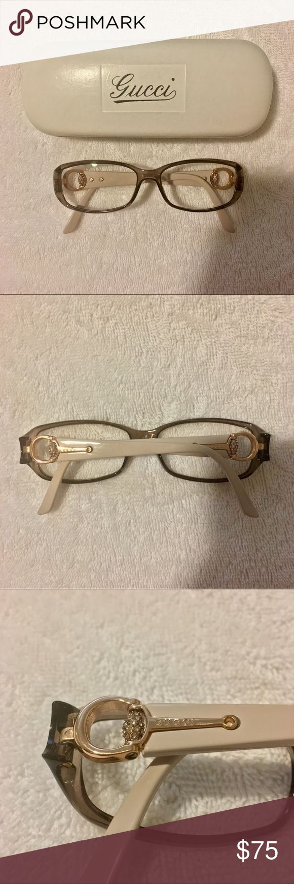 Gucci Horsebit Eyeglass Frame Lilac/Taupe translucent color on front of frame. Light nude/pink on side arms. Classic gold horsebit accent on each arm with crystal accents. Classic 'GUCCI' lettering on each arm. Like New. Comes with case. 100% authentic. Currently with prescription lens - Can be easily removed or replaced. Last photo uploaded to show size on face Gucci Accessories Glasses