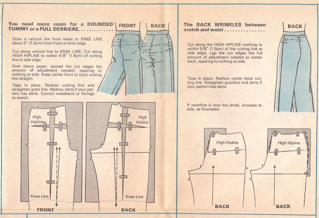 Alterando seu padrão de calças para uma barriga arredondada ou traseiro integral ou swayback