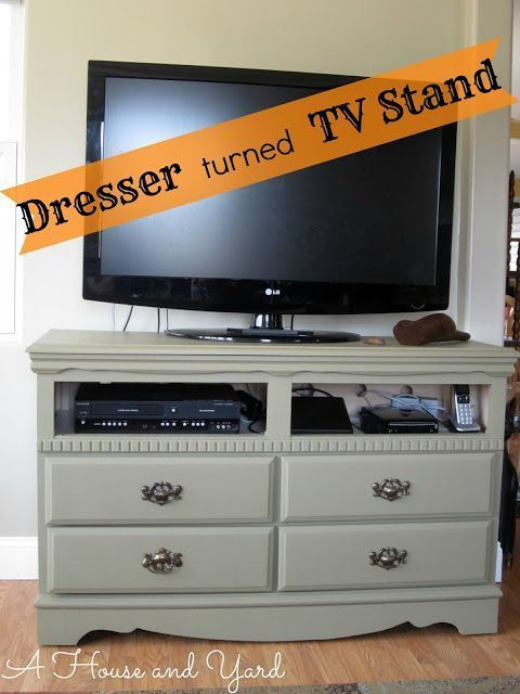 A House And Yard Old Dresser Chalk Paint Tv Stand Swivel Tv