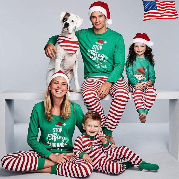 Lange Familienweihnachtselfenpyjamas