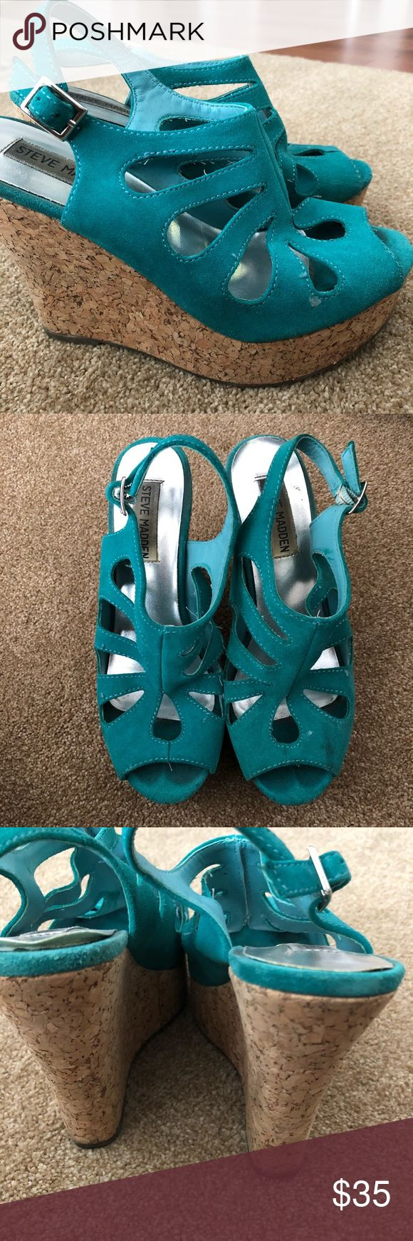 Size 6.5 Steve Madden teal wedges 😍 Size 6.5 wedges from Steve Madden. Worn a few times, amazingly comfortable! Perfect for summer. **NO TRADES** Steve Madden Shoes Wedges