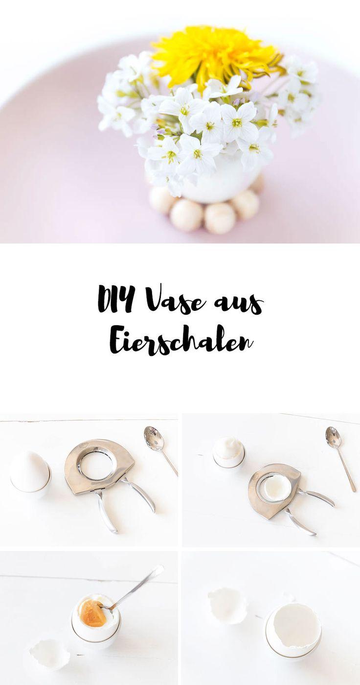 DIY Vase aus Eierschalen basteln - Tischdeko für Ostern