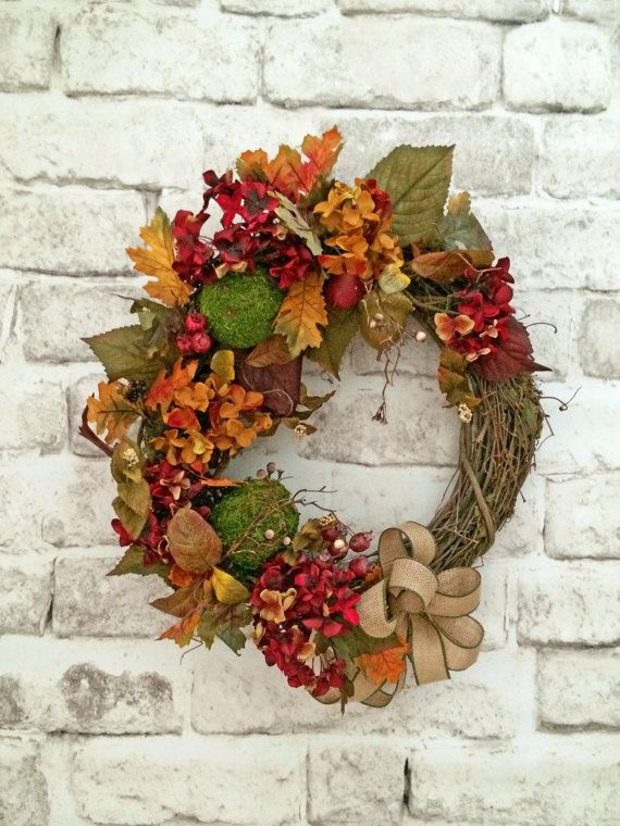 Rich Fall Wreath for Front Door Fall Door by AdorabellaWreaths