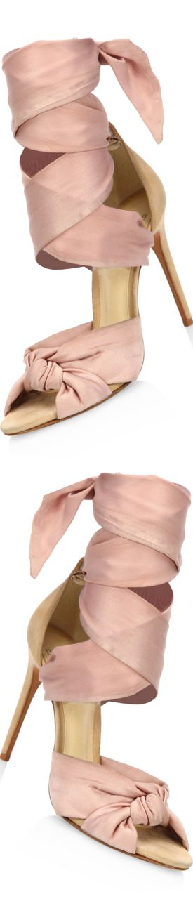Alexandre Birman Katherine Silk Ankle-Wrap Sandals
