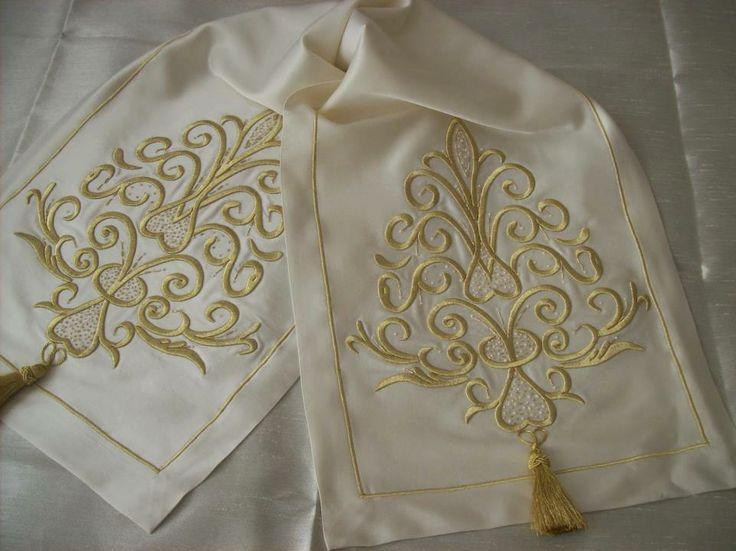 Handmade ottoman caligraphy & silk &  tablerunner
