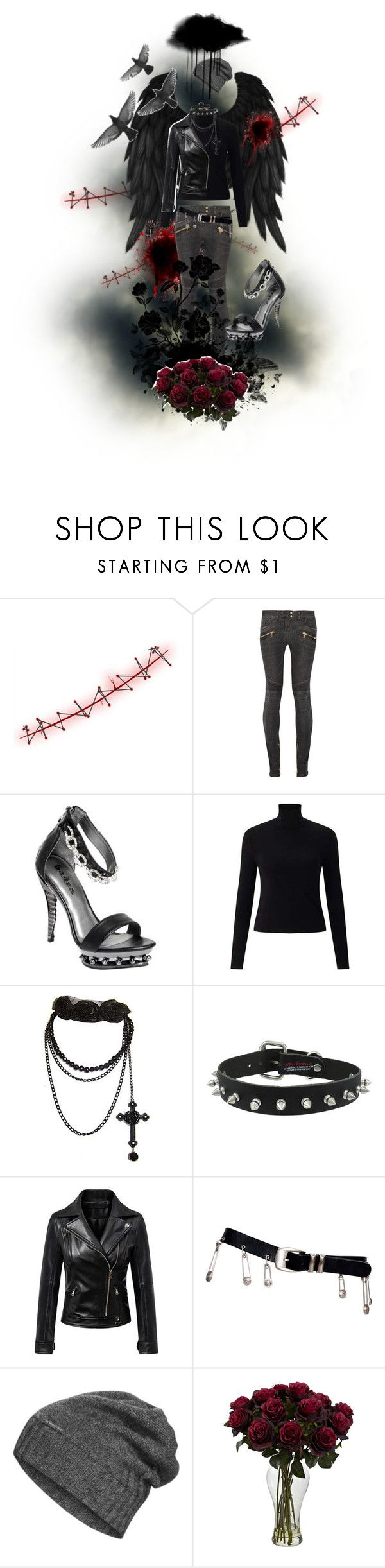 """""""It never ends."""" by x666x999x ❤ liked on Polyvore featuring Balmain, HADES, Miss Selfridge, Versace and The North Face"""