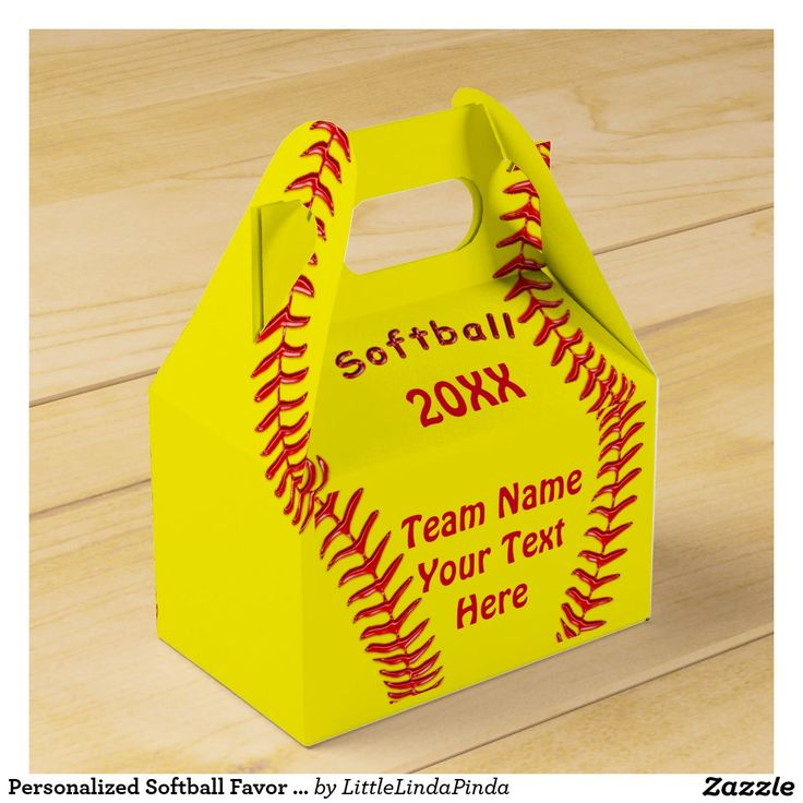 Cute and Personalized Softball Party Favor Bags / Boxes. Type in your TEAM and YEAR or YOUR TEXT CLICK: http://www.zazzle.com/personalized_softball_favor_box_your_text_colors-256295836833261073?rf=238147997806552929 Great for softball themed birthday party and end of season softball party. Cheap softball party favors & gifts MORE: http://www.zazzle.com/littlelindapinda/gifts?cg=196344936727049023&rf=238147997806552929 CALL Linda to create matching cheap softball party favors. Linda…