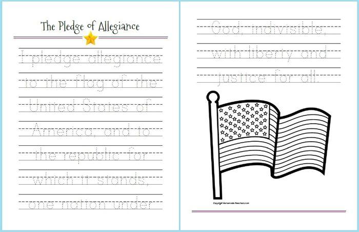 Free printable!  Pledge of Allegiance