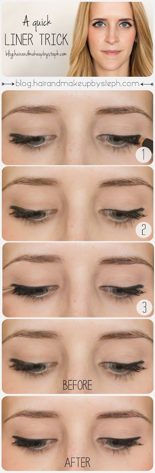 A Quick Liner Trick  1.  Apply your eyeliner as you normally would.  2.  This is how my liner tends to look when I do it quickly, without touching it up.  Uneven and messy. 3.  Using a short angle brush, retrace over your liner with black eyeshadow.  The black eyeshadow will smooth out the edges, fill in any light spots and soften everything. Voila