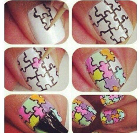 Nagellak kunst / puzzel / nail art / puzzle