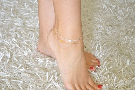 Sideways Cross Anklet Mini / Tiny - STERLING SILVER - Ankel Bracelet, Celebrity bracelet, Kelly Ripa, Jennifer Lopez, Religious on Etsy, $20.28