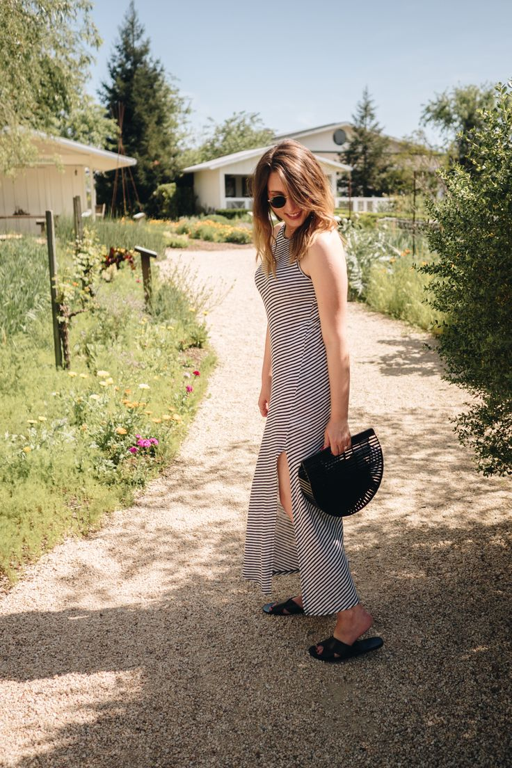 All Aboard The Napa Valley Wine Train   Wearing A Striped & Other Stories Maxi Dress, Black Cult Gaia Bamboo Bag And Rayn Ban Round Shades   Wolf & Stag