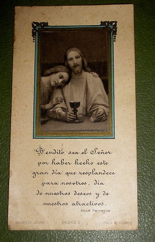 Jesus and Mary Magdalene Holy Communion French Holy Card | eBay..The cathars believed in the holy union of Mary and Jesus, and a divine bloodline, not that you can find that in any of the written history of them.