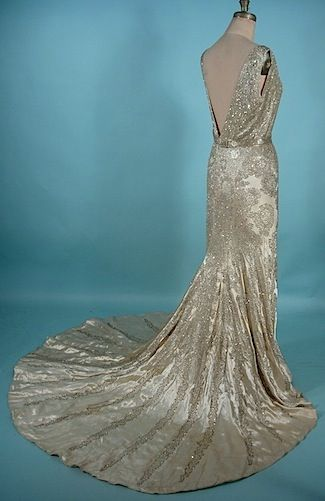 c. 1930's The Liberty Shop, New Orleans, LA Magnificent Satin Rhinestone and Beaded Trained Gown with Original Matching Belt