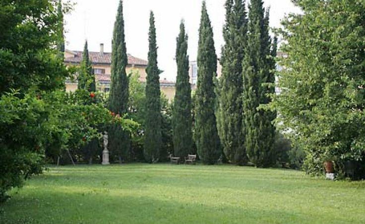 Hinter hohen Mauern verbirgt sich manche Überraschung, wie dieser weitläufige Garten im Stadtviertel Dorsoduro, mit großer Rasenfläche und hohen Zypressen