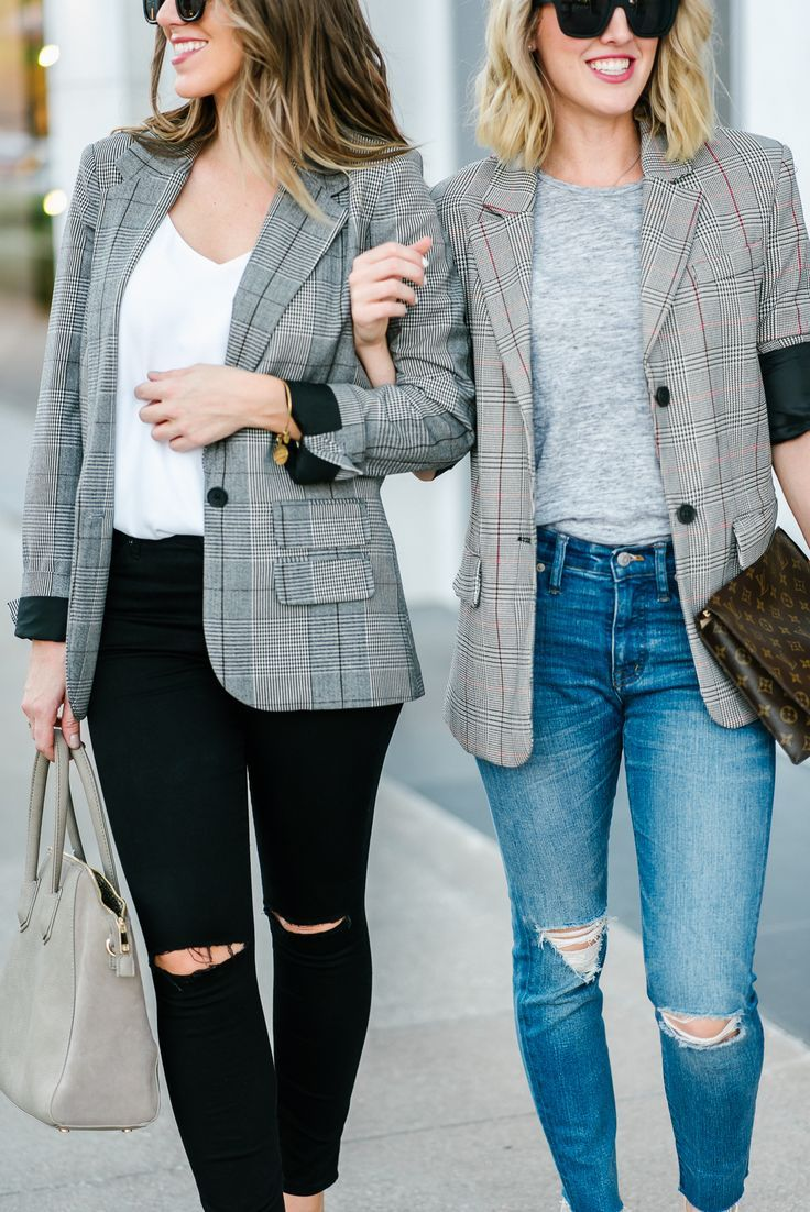 Plaid Boyfriend Blazer Styled Two Ways//Oversized blazer//plaid blazer//herringbone blazer//boyfriend blazer//louis vuitton clutch//sole society//topshop jeans//madewell//target style//fall look//fall outfit