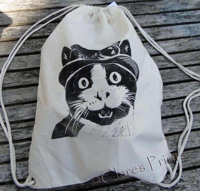 Steampunk Cat Rucksack Bag Linocut Hand Printed Cream  £7.00 #folksyfriday