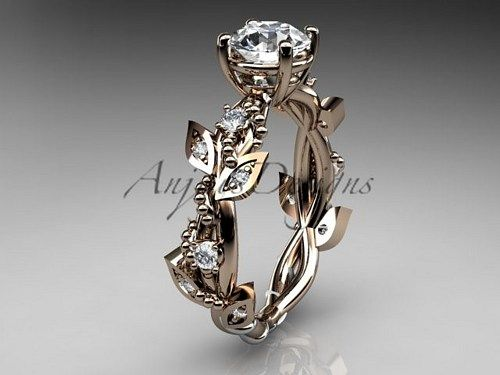 14kt rose gold diamond leaf and vine wedding ring, engagement ring ADLR59  This is gorgeous leaf and vine pattern ring. It has 12 VS-SI/G-H color diamonds total weight of 0.20ct. The center stone is 1