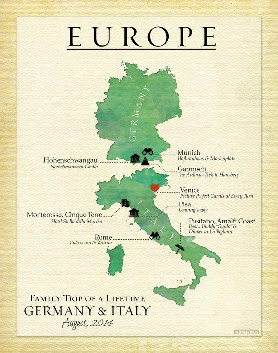 Personalized European Travel Map Gift Family Travel Keepsake Map