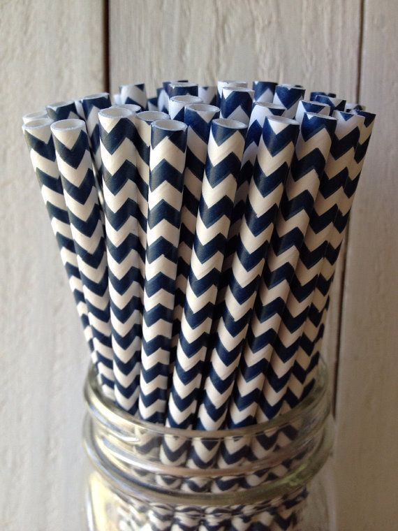 25 Navy Chevron Striped Paper Straws Printable by angieheartsjared, $3.75