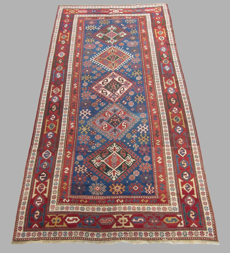 Antique Kazak , Southwest Caucasian. Last Quarter 19th Century. The Kazak region of the western Caucasus has woven boldly patterned, strong coloured rugs in scatter sizes since at least the beginning of the 19th century. Various villages each specialize in their own particular designs: Bordjalu, Karachoft, Sewan,Lori Pambak, Shulaver, etc. This and more important textiles for sale on CuratorsEye.com