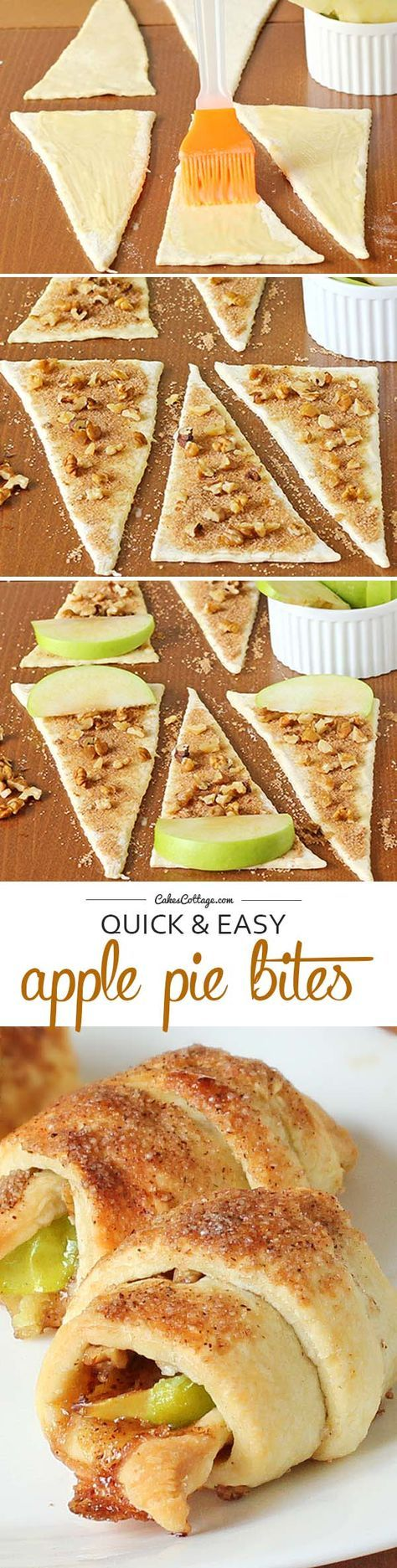 Do you love desserts with crescent rolls ? Try this Apple Pie Bites made with crescent rolls, apples & pecans.